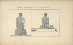 Two views of the Gomatesvara statue at Sravana Belagola. 'Gigantic Statue of Gomut Iswar at Billaculloo.' Published as an engraving in AR (9) 1809, opposite p.262